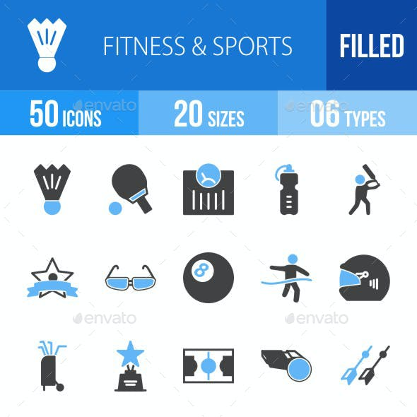 Fitness & Sports Blue & Black Icons