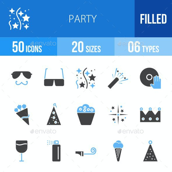 Party Blue & Black Icons