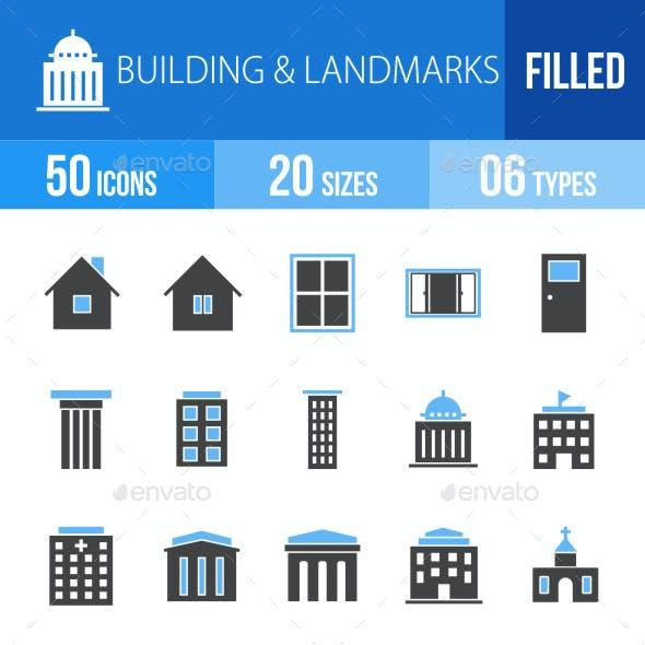 Buildings & Landmarks Blue & Black Icons