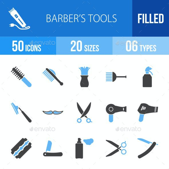 Barber's Tools Blue & Black Icons