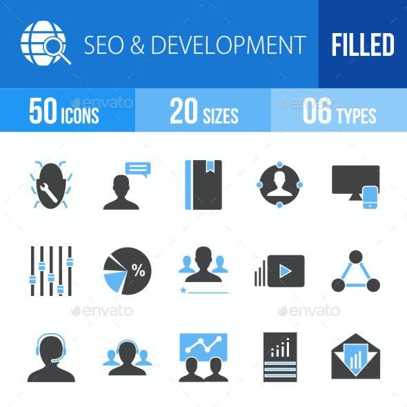 SEO & Development Services Blue & Black Icons