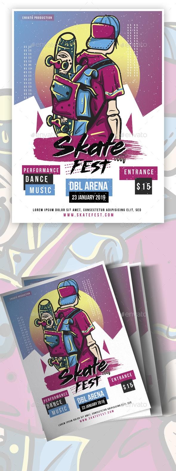 Pop Skate Fest flyer - Events Flyers