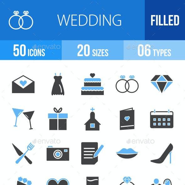 50 Wedding Filled Blue & Black Icons