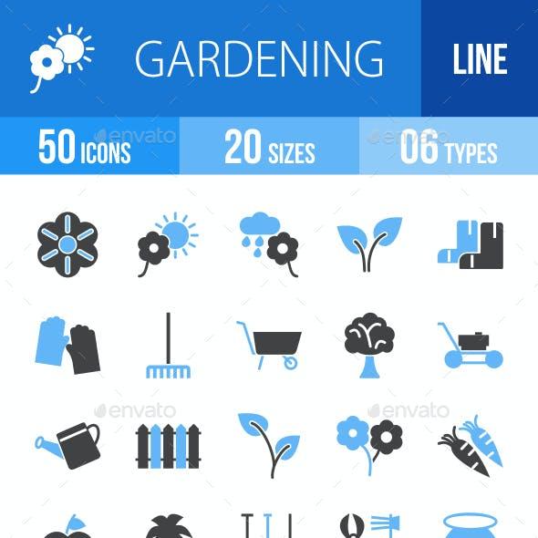 50 Gardening Filled Blue & Black Icons