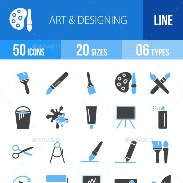 50 Art & Designing Filled Blue & Black Icons