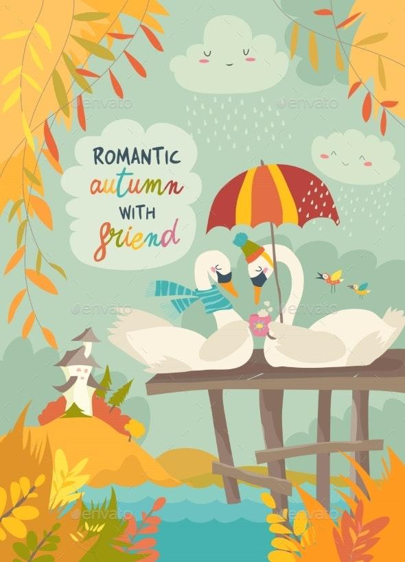Romantic Swans in Autumn Park - Landscapes Nature