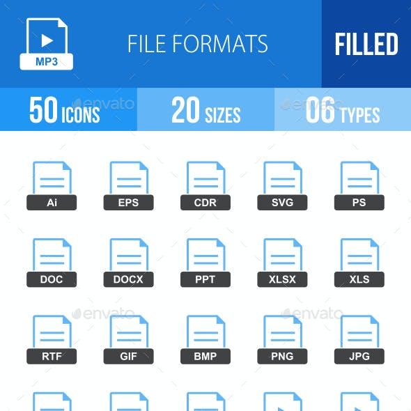 50 File Formats Filled Blue & Black Icons