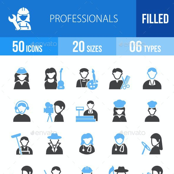 50 Professionals Filled Blue & Black Icons