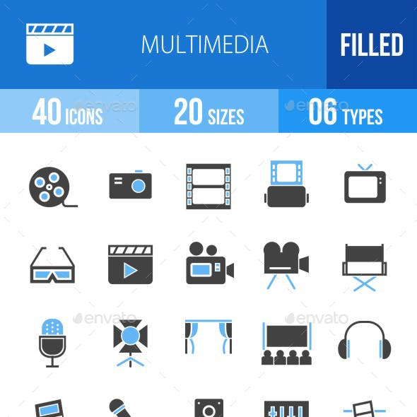 40 Multimedia Filled Blue & Black Icons