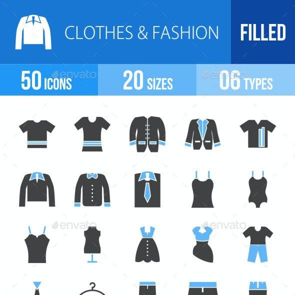 50 Clothes & Fashion Filed Blue & Black Icons