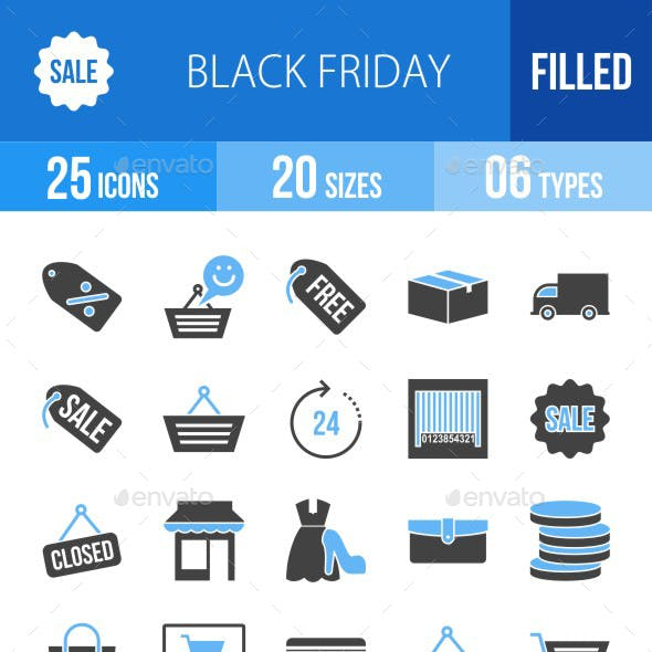 25 Black Friday Filled Blue & Balck Icons