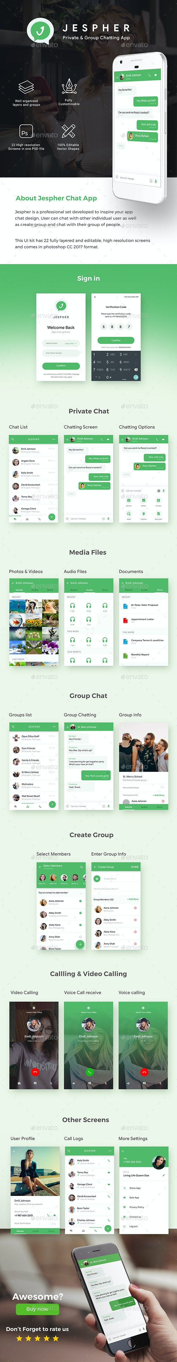 Chatting & Group Chatting App UI Kit  |  Jespher Chats - User Interfaces Web Elements