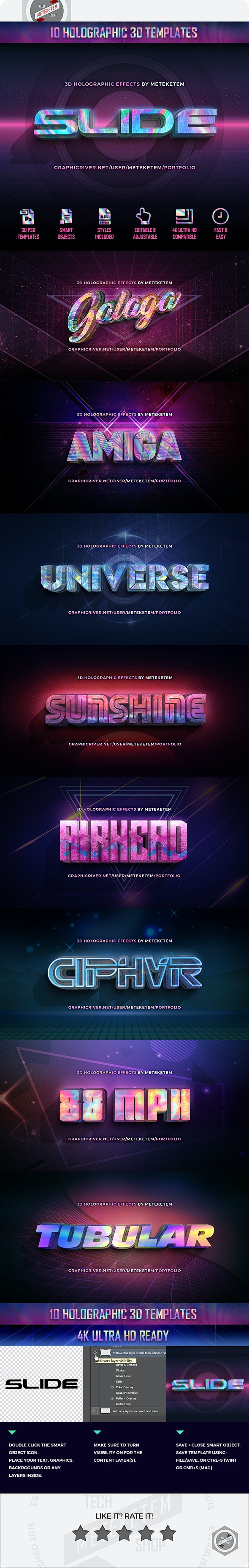 3D Holographic Text Effects - Text Effects Actions