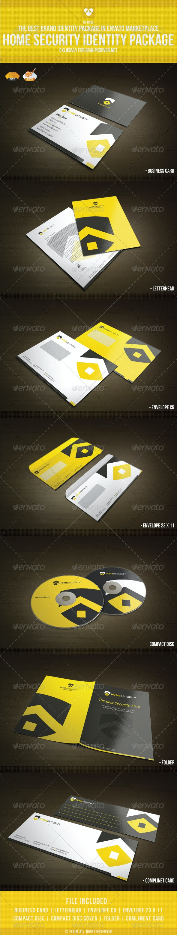 Home Security Identity Package - Stationery Print Templates