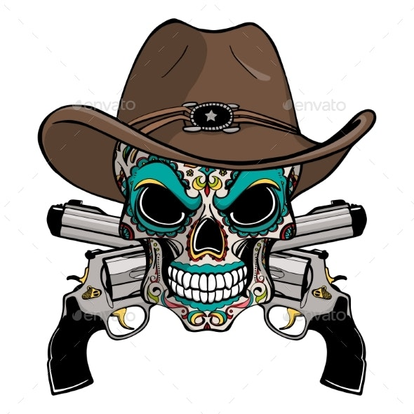 Cowboy Skull in a Western Hat - Miscellaneous Vectors