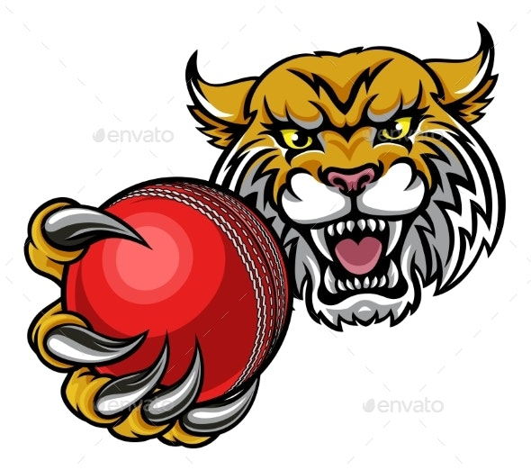 Wildcat Holding Cricket Ball Mascot - Sports/Activity Conceptual