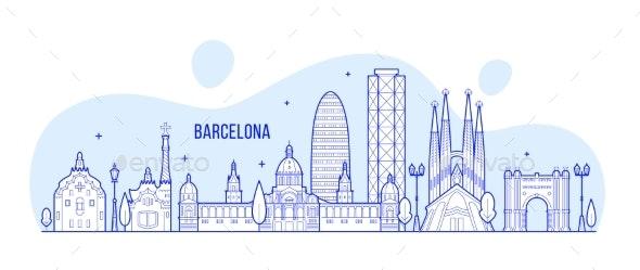 Barcelona Skyline Spain City Buildings Vector - Buildings Objects