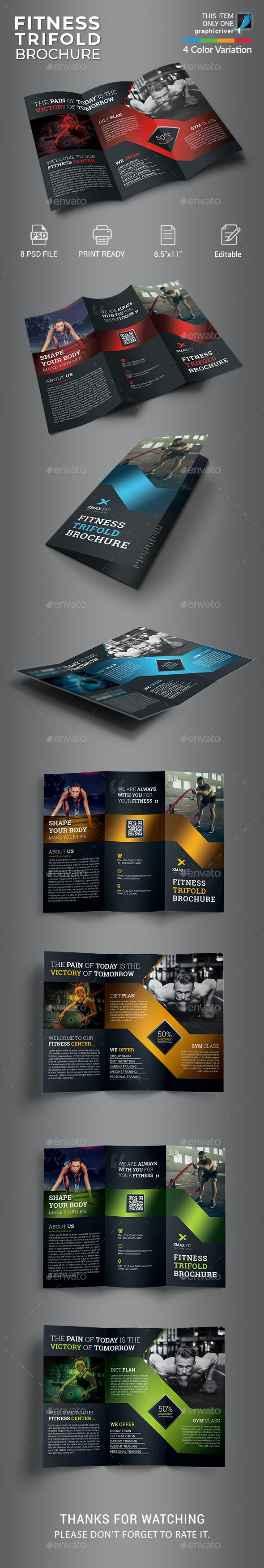 Fitness Trifold Brochure - Informational Brochures