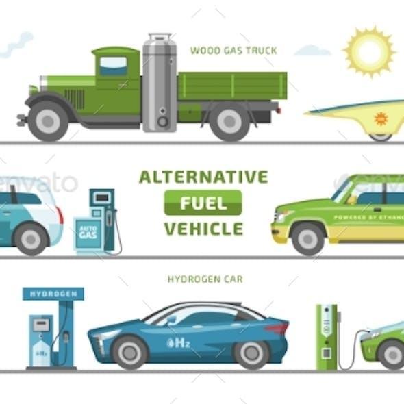 Fuel Alternative Vehicle Vectors