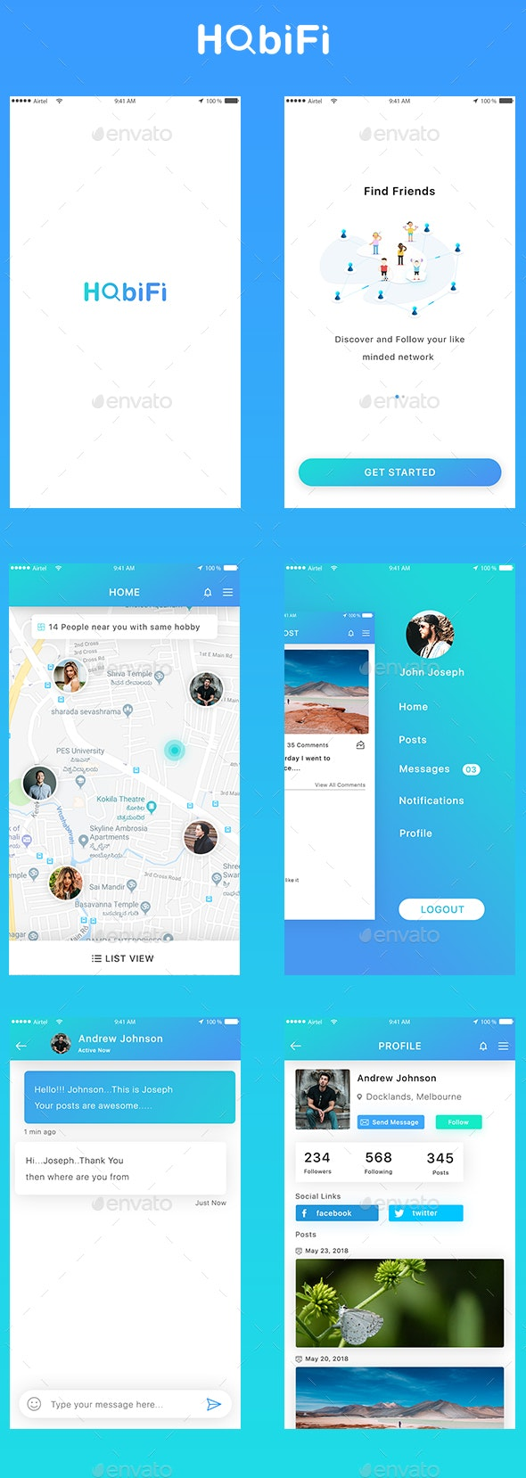 People with Same Hobby Finder App UI - User Interfaces Web Elements