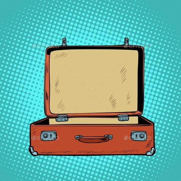 Old Open Retro Suitcase Travel and Tourism - Travel Conceptual