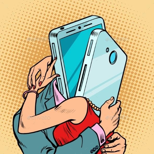 Virtual Date Man and Woman Hugging - Communications Technology