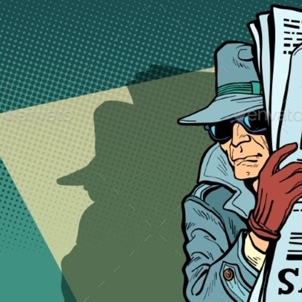 Spy Detective in Hat and Sunglasses Newspaper