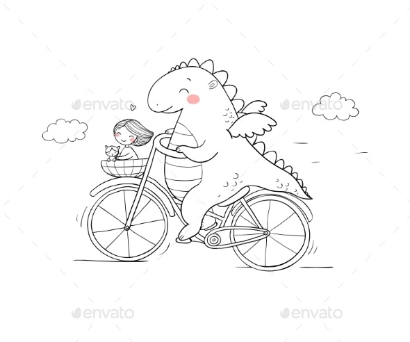 Cartoon Dinosaur on a Bicycle - Miscellaneous Characters