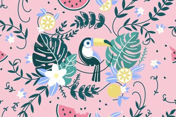 Pattern with Green Leaf Palm and Parrot - Backgrounds Decorative