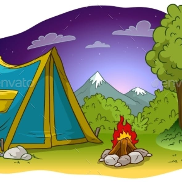 Cartoon Camping Tent and Campfire on Grass Lawn