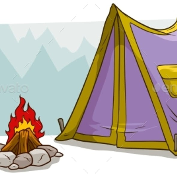 Cartoon Camping Tent and Campfire Against Mountain