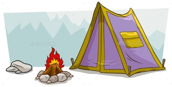 Cartoon Camping Tent and Campfire Against Mountain - Backgrounds Decorative