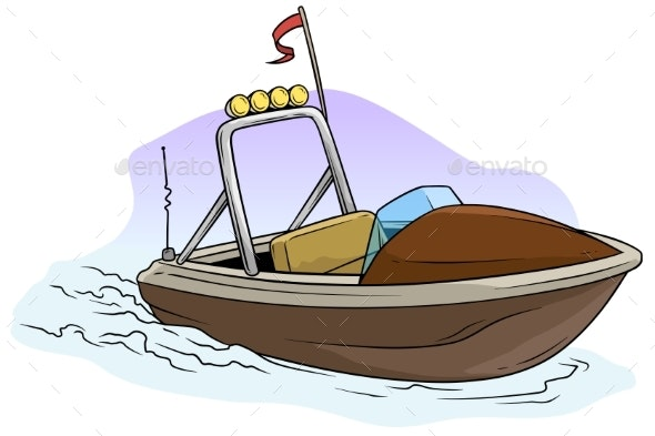 Cartoon Small Brown Motor Boat on the Sea - Man-made Objects Objects