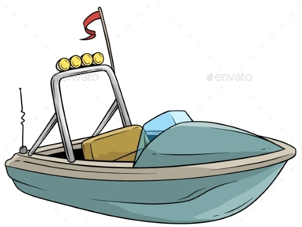 Cartoon Small Blue Motor Boat with Flag - Man-made Objects Objects