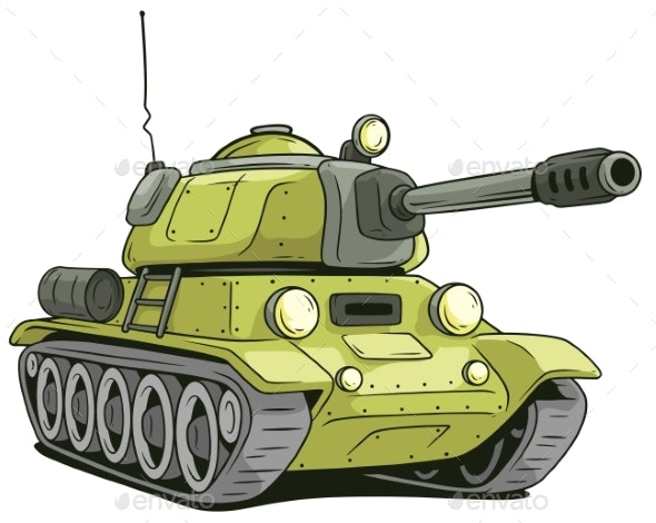 Cartoon Olive Military Army Large Tank Vector Icon - Miscellaneous Vectors