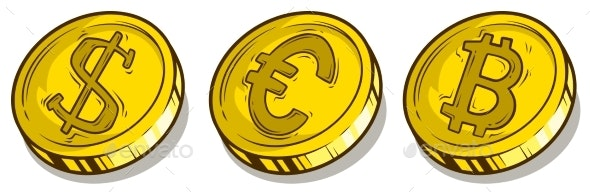 Cartoon Bitcoin Dollar and Euro Coins Vector Set - Man-made Objects Objects