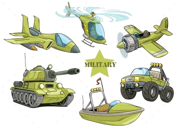 Cartoon Green Military Army Vehicles Vector Set - Man-made Objects Objects