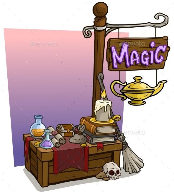 Cartoon Magic Vendor Booth Market Wooden Stand - Miscellaneous Vectors