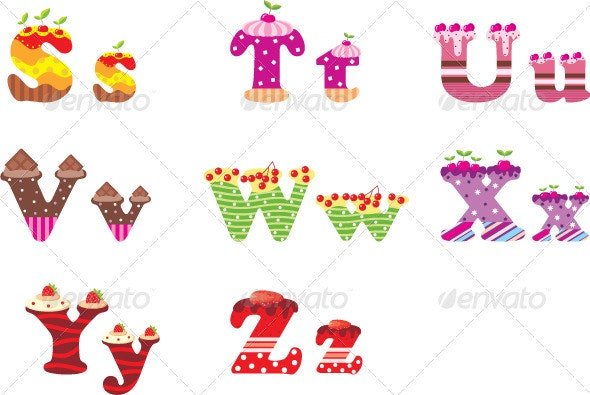 Sweet letters of the alphabet - Objects Vectors