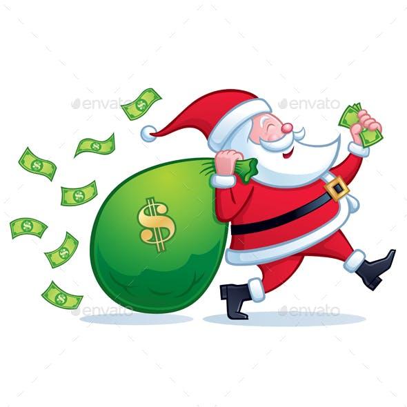 Santa Carrying Bag of Money