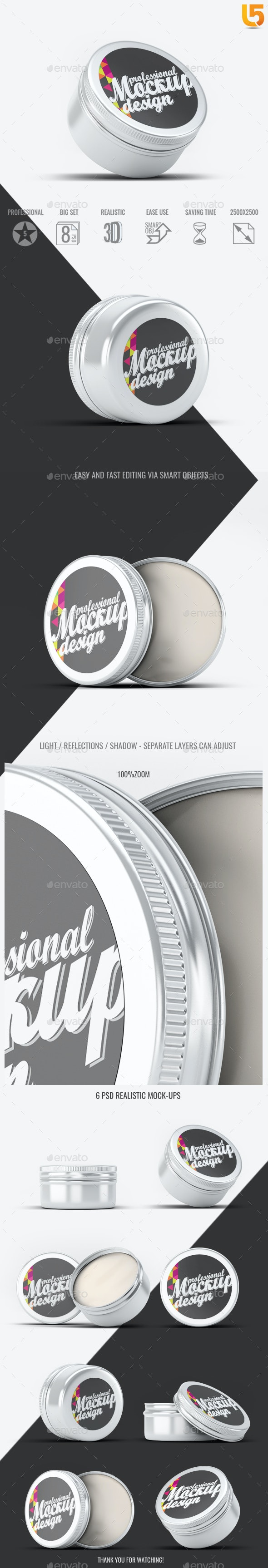 Round Tin Can Mock-Up - Beauty Packaging