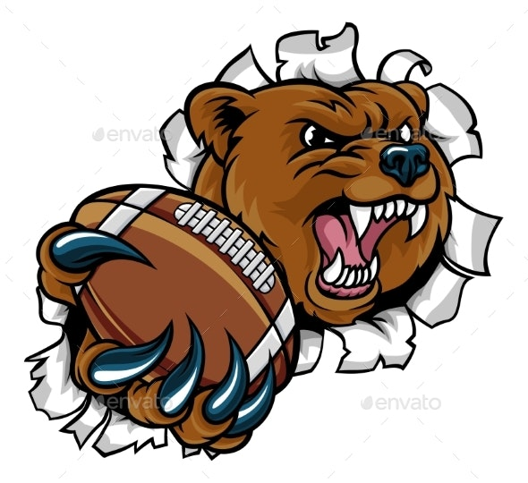 Bear and American Football Ball Tearing Background - Sports/Activity Conceptual