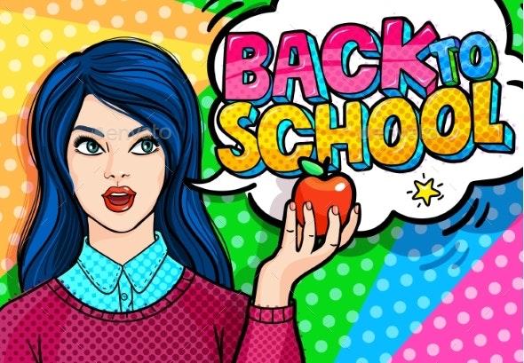 Young Woman Teacher Back to School - Miscellaneous Vectors