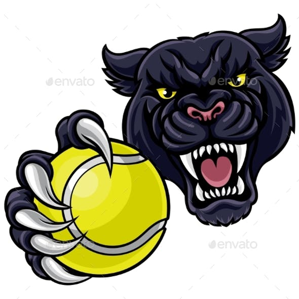 Black Panther Holding Tennis Ball Mascot
