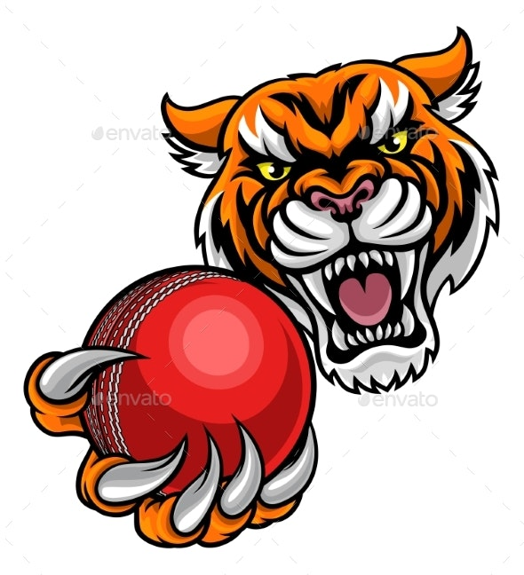 Tiger Holding Cricket Ball Mascot - Sports/Activity Conceptual