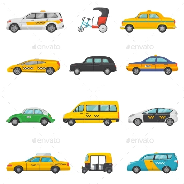 Taxi Vector Taxicab Transport and Yellow Car - Miscellaneous Vectors