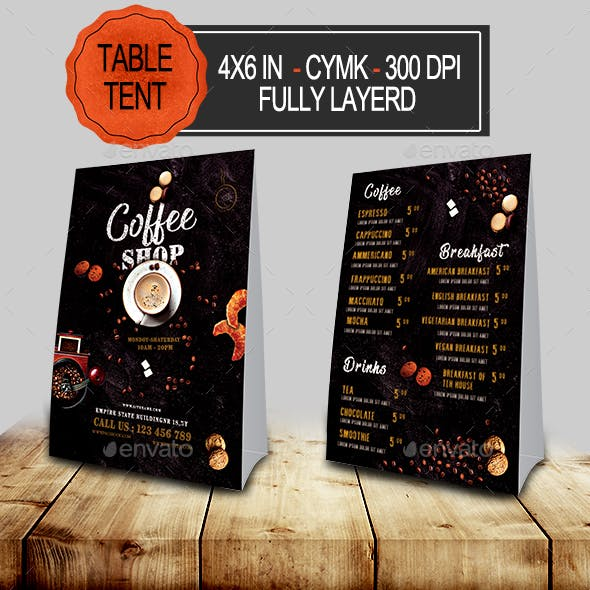 Coffee Menu Table Tent