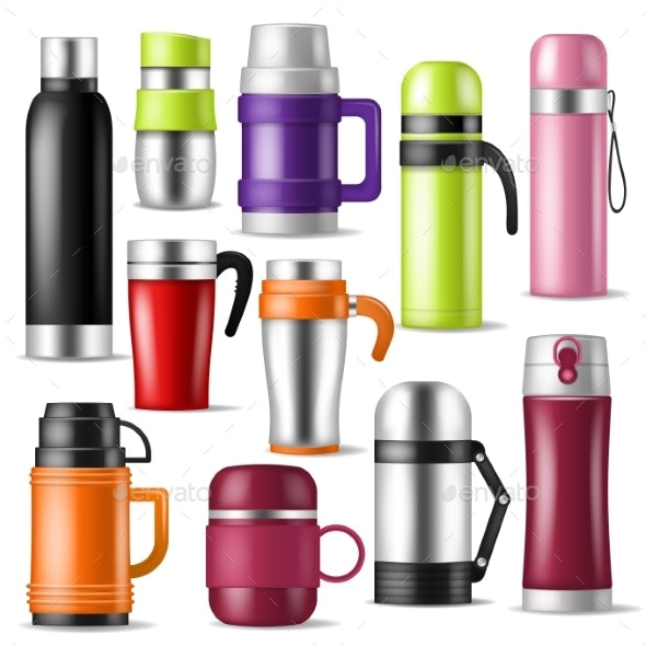 Thermos Vector Vacuum Flask or Bottle - Food Objects