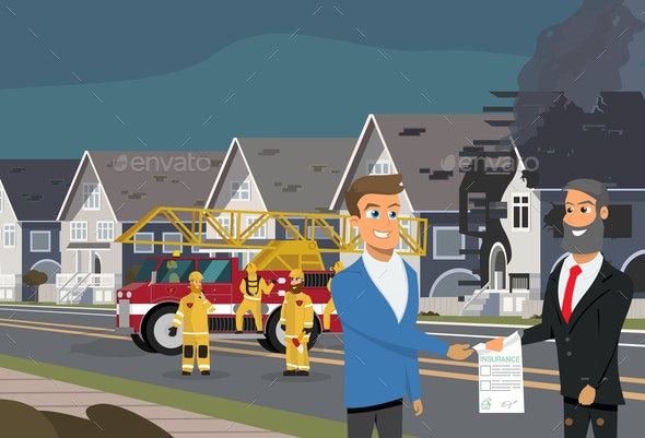 Property Insurance in Case of Fire Vector Concept - People Characters