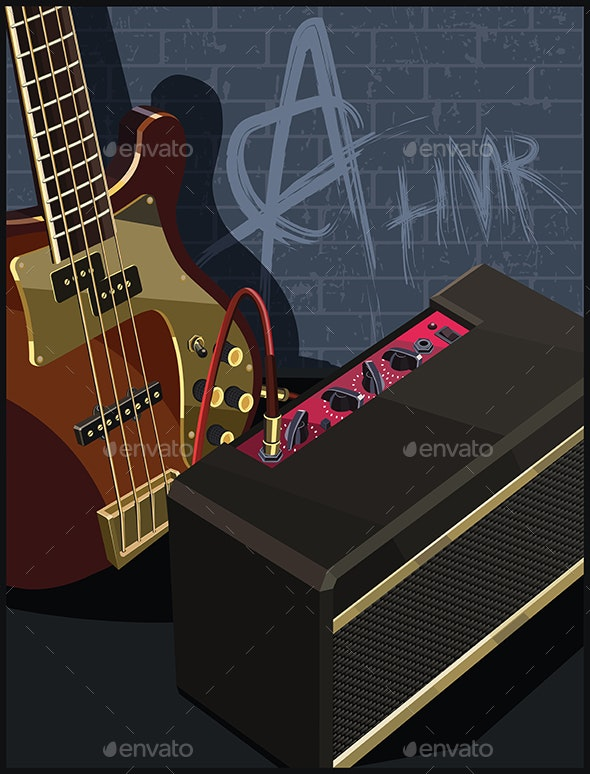 Electric Guitar and Amplifier on a Brick Background - Backgrounds Decorative